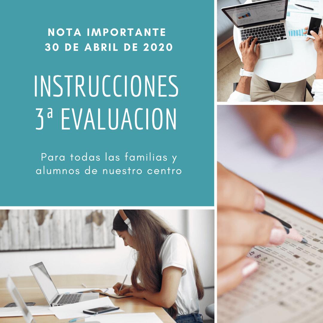Instrucciones para la 3ª evaluación